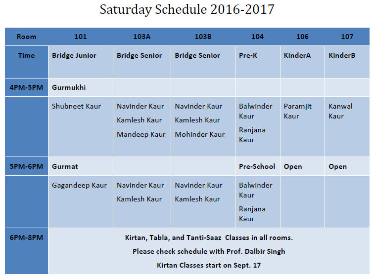 saturday-schedule